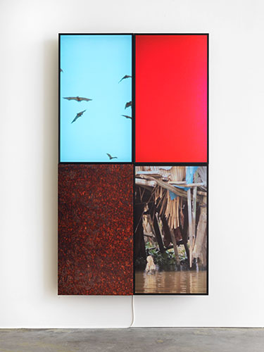 <center>Markus Selg (1974) <br><em>Refuge (Ganvie)</em>, 2014 <br>filmframe, 3 screens / sublimation print on fabric, 4 parts<center>