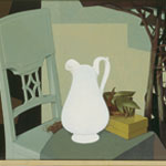 Still life with white jug and chair
