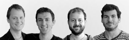 Left to right: Joris Docter (CEO, co-founder), Vlad Lep, (CTO), </br>Tijs Teulings (product and technical manager, co-founder) and Chema Valle (engineer)