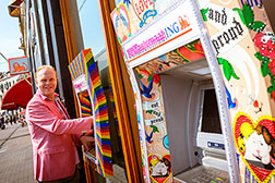 Frits Huffnagel, chair of the Amsterdam Gay Pride, <br>launches the ING PINK ATM, which was specially <br>designed for the Gay Pride