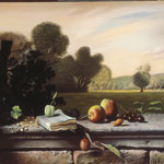 Still life with fruit and landscape