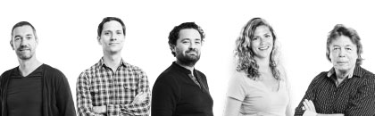 Van links naar rechts: Martin Boerma (ontwerper), Rob Willems (CIO, medeoprichter), Alexander Brouwer (CEO, medeoprichter), Leonieke van der Peet (Agile & Lean-specialist) en Jan Donselaar (actuaris).