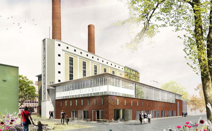 Some of the industrial elements of the building will be maintained, such as the two chimneys.