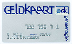 Cash Card Gemeentegiro Amsterdam (1976). </br>Image from Historical Archive ING.