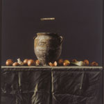 Jar, onions and black cloth