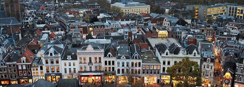Commercial and residential properties in Utrecht, the Netherlands. Photograph: Bloomberg via Getty Images.