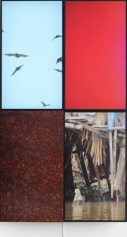 Markus Selg (1974) <br><em>Refuge (Ganvie)</em> <br>2014 <br>3 film frames, sublimation print on fabric