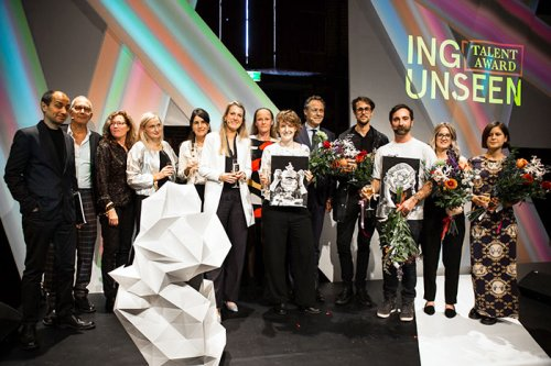 © 2017 Maarten Nauw<br>All five ING Useen Talent Award 2017 finalists on stage with members from the jury, Unseen and ING