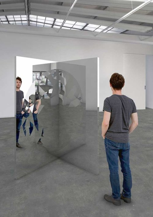 Jeppe Hein (1974)<br /> <em>Fragmented Circle</em>, 2018<br /> 210 x 105 x 105 cm<br /> Stainless steel, mirror