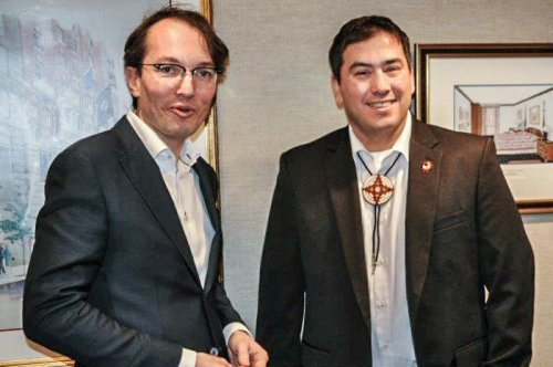 ING's head of Business Ethics Arnaud Cohen Stuart (left) and Chad Harrison from the Standing Rock Sioux Tribe shortly after their meeting in New York on 10 February.