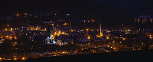 The Scottish town of Peebles lit up at night. More than 40% of Scotland's electricity comes from renewable energy.