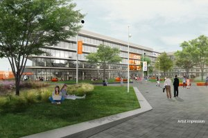 Homepage Carousel: Groundbreaking on new HQ begins with first tree