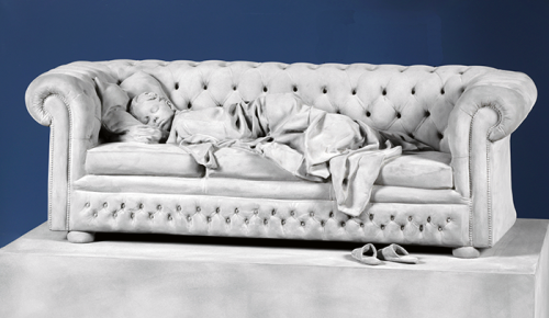 Hans op de Beeck (1969)<br /><em>Sleeping Girl (small version)</em>, 2018<br />105 x 60 x 104 cm<br />MDF, polyester, polyamide, coating