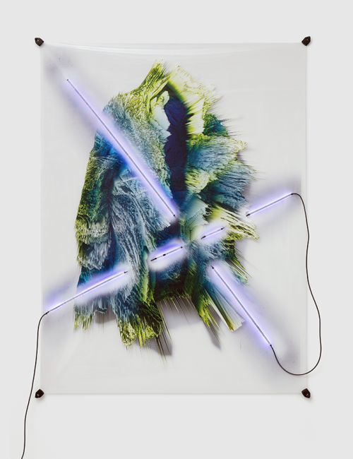 Florian Auer (1984)<br /><em>Not Yet Titled (Volumetric Lighting)</em>, 2018<br />185 x 140 cm<br />Digital print on transparent PVC, led stripes, cable power adapter and plastic clips