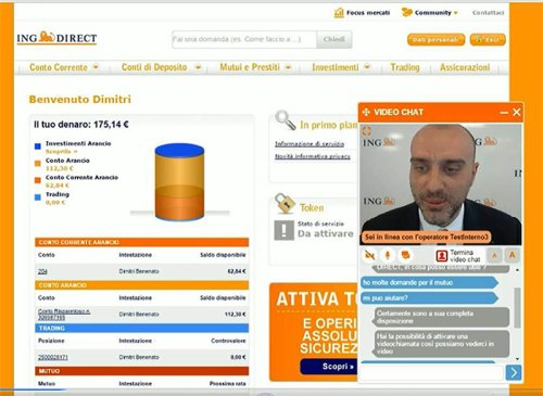 ING in Italy has a remote service page with video chat option