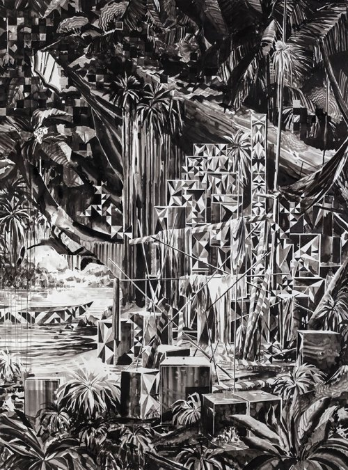 Nik Christensen (1973) <br><em>Something for the lost and found</em>  <br>2015  <br>Sumi ink on paper