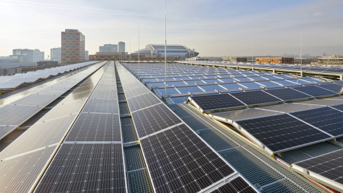 Solar panels on the roof of ING's Cedar office building in Amsterdam.
